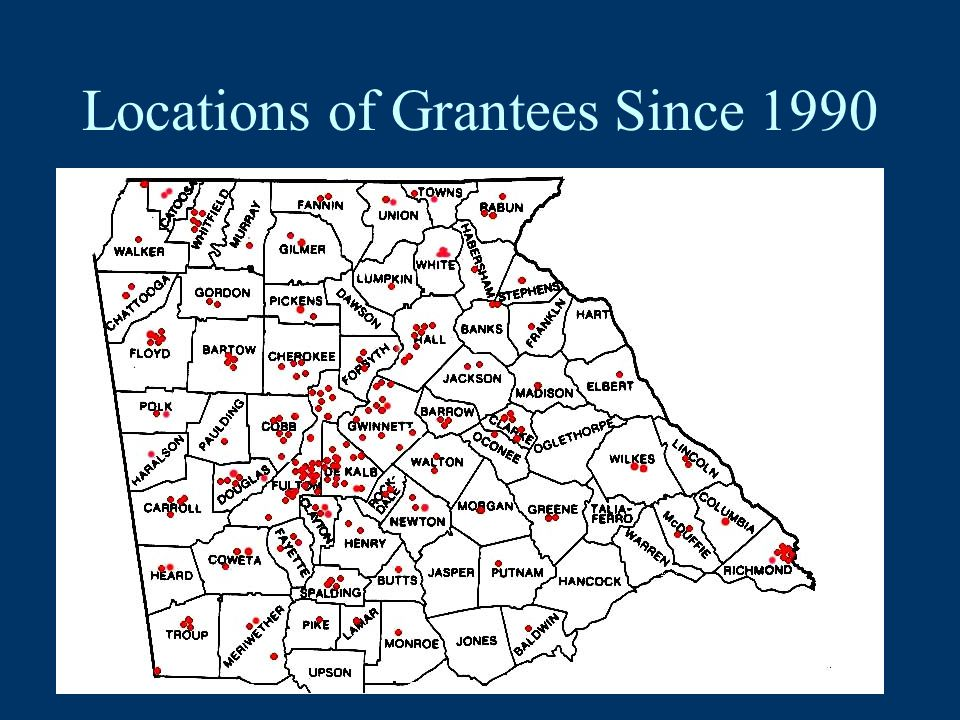 Locations of Grantees Since 1990