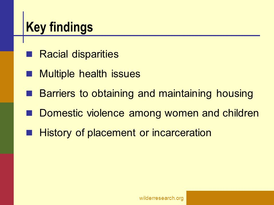 Key findings Racial disparities Multiple health issues Barriers to obtaining and maintaining housing Domestic violence among women and children History of placement or incarceration wilderresearch.org