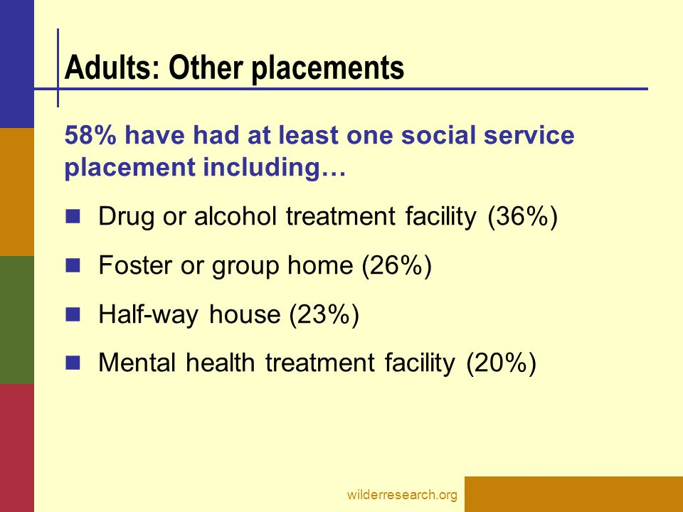 Adults: Other placements 58% have had at least one social service placement including… Drug or alcohol treatment facility (36%) Foster or group home (26%) Half-way house (23%) Mental health treatment facility (20%) wilderresearch.org