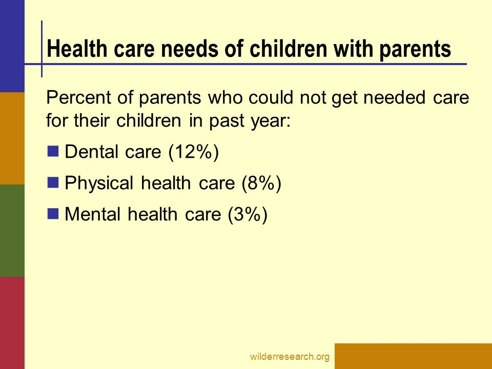 Health care needs of children with parents Percent of parents who could not get needed care for their children in past year: Dental care (12%) Physical health care (8%) Mental health care (3%) wilderresearch.org