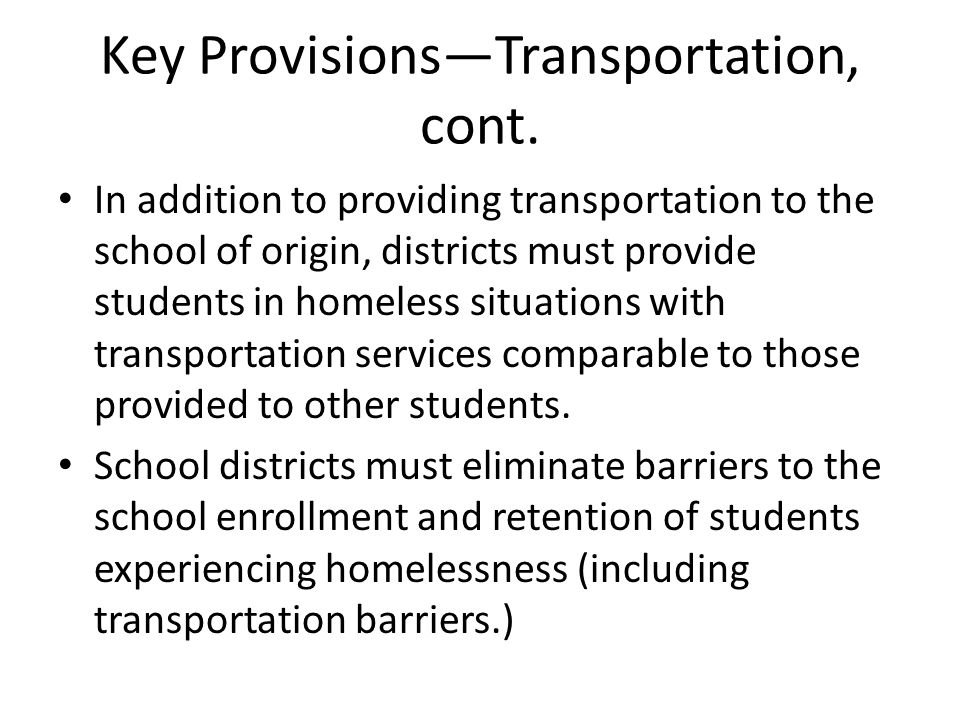 Key Provisions—Transportation, cont.
