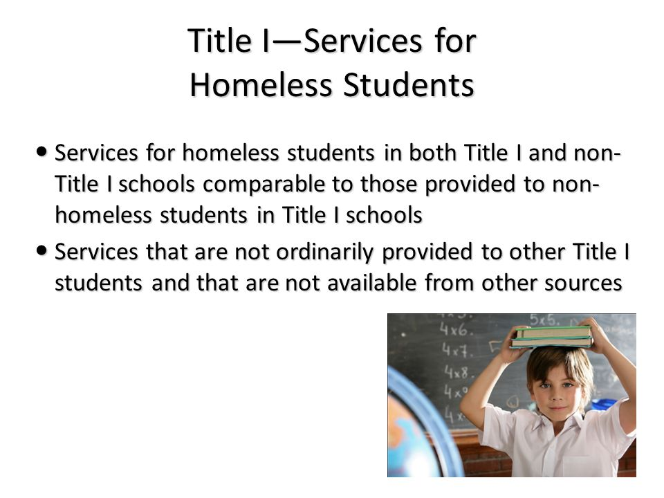 Title I—Services for Homeless Students Services for homeless students in both Title I and non- Title I schools comparable to those provided to non- homeless students in Title I schools Services for homeless students in both Title I and non- Title I schools comparable to those provided to non- homeless students in Title I schools Services that are not ordinarily provided to other Title I students and that are not available from other sources Services that are not ordinarily provided to other Title I students and that are not available from other sources