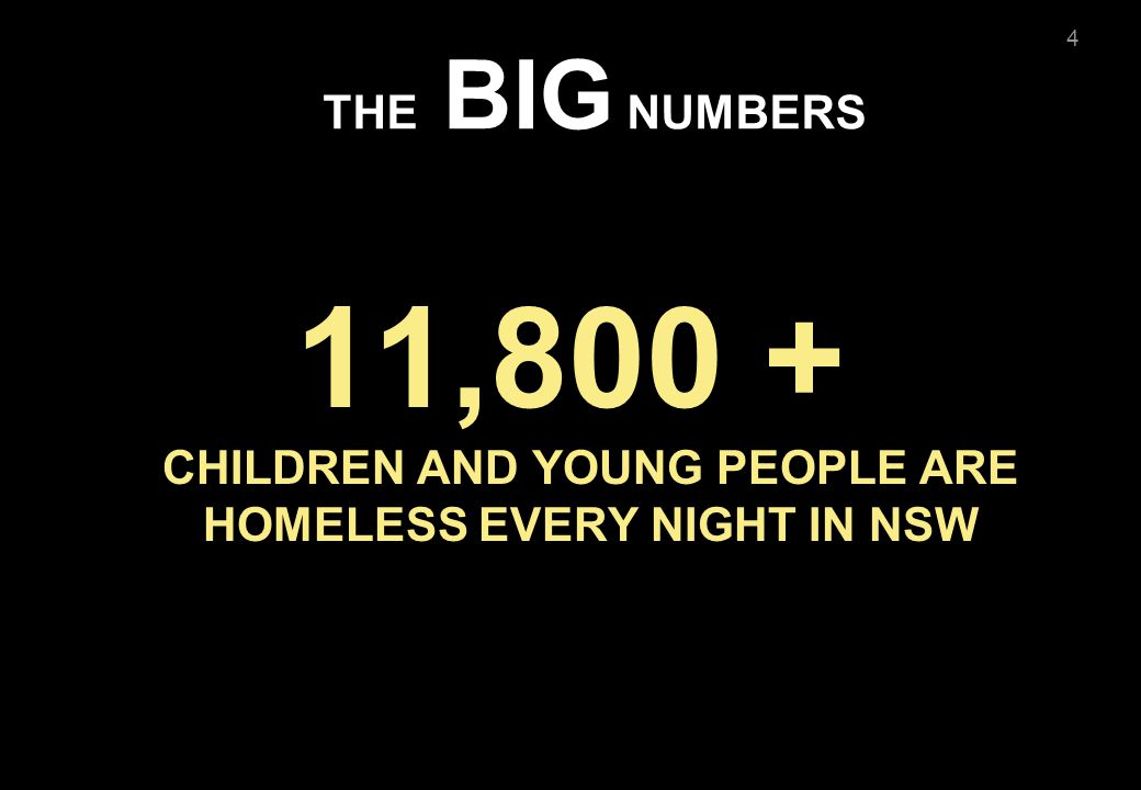 4 THE BIG NUMBERS 11,800 + CHILDREN AND YOUNG PEOPLE ARE HOMELESS EVERY NIGHT IN NSW