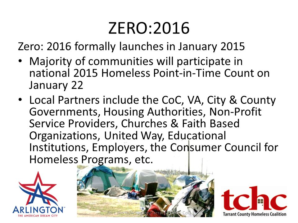 ZERO:2016 Zero: 2016 formally launches in January 2015 Majority of communities will participate in national 2015 Homeless Point-in-Time Count on Janua