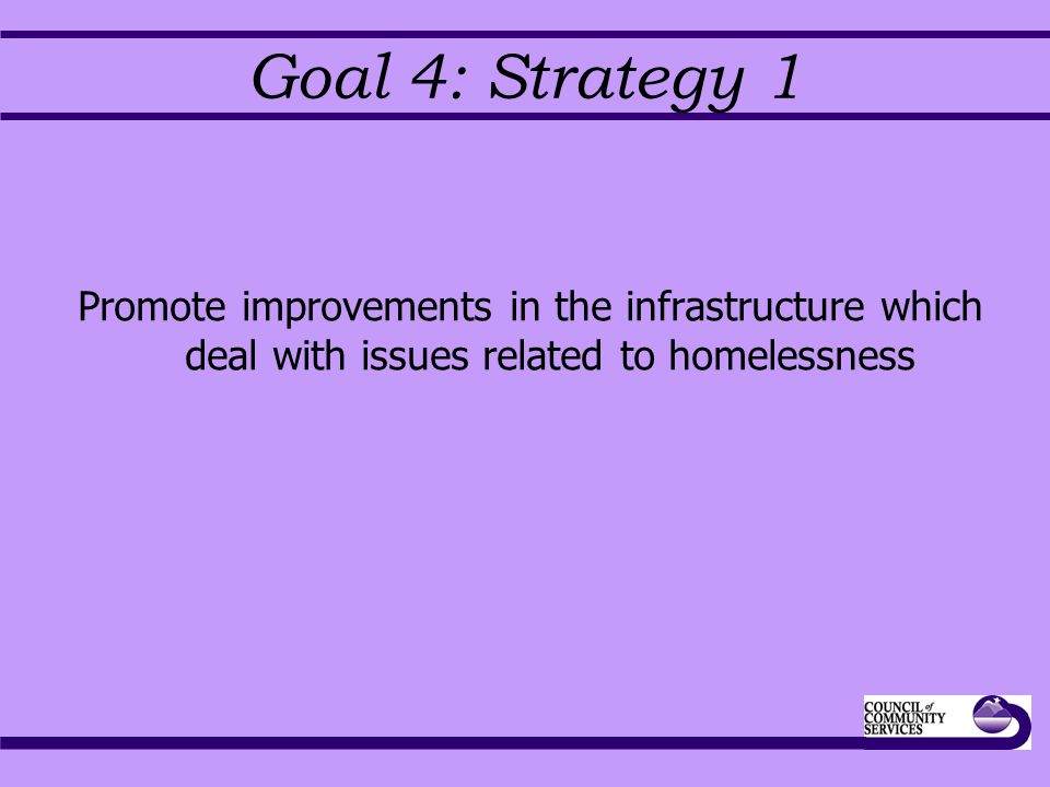Goal 4: Strategy 1 Promote improvements in the infrastructure which deal with issues related to homelessness