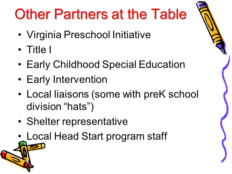 Other Partners at the Table Virginia Preschool Initiative Title I Early Childhood Special Education Early Intervention Local liaisons (some with preK school division hats ) Shelter representative Local Head Start program staff