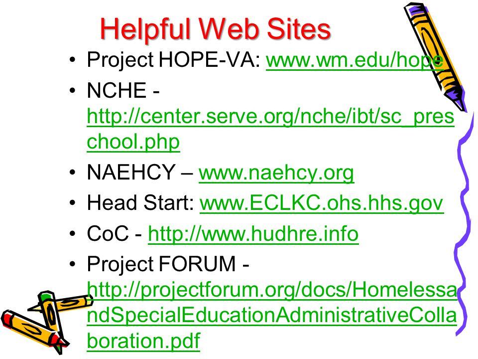 Helpful Web Sites Project HOPE-VA: www.wm.edu/hopewww.wm.edu/hope NCHE - http://center.serve.org/nche/ibt/sc_pres chool.php http://center.serve.org/nche/ibt/sc_pres chool.php NAEHCY – www.naehcy.orgwww.naehcy.org Head Start: www.ECLKC.ohs.hhs.govwww.ECLKC.ohs.hhs.gov CoC - http://www.hudhre.infohttp://www.hudhre.info Project FORUM - http://projectforum.org/docs/Homelessa ndSpecialEducationAdministrativeColla boration.pdf http://projectforum.org/docs/Homelessa ndSpecialEducationAdministrativeColla boration.pdf