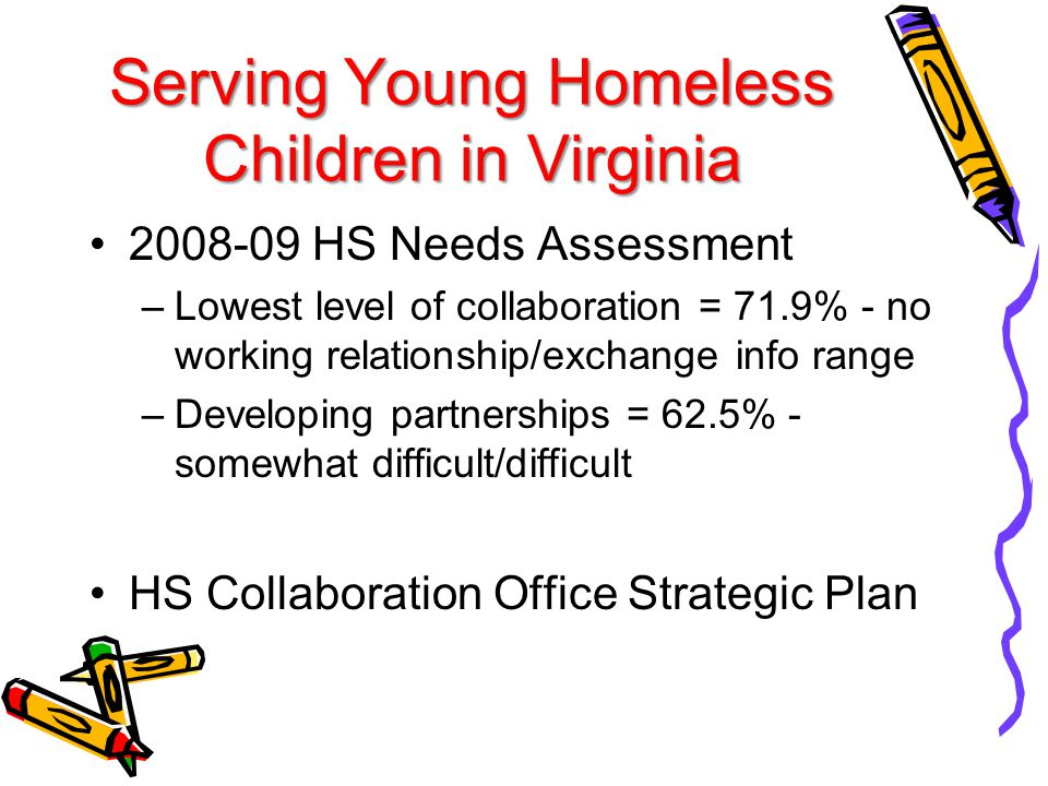Serving Young Homeless Children in Virginia 2008-09 HS Needs Assessment –Lowest level of collaboration = 71.9% - no working relationship/exchange info