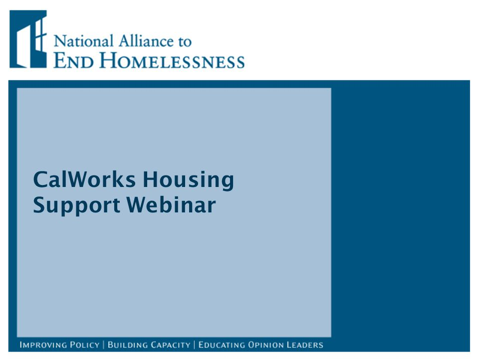 CalWorks Housing Support Webinar