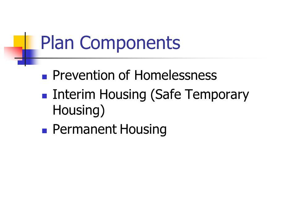Plan Components Prevention of Homelessness Interim Housing (Safe Temporary Housing) Permanent Housing