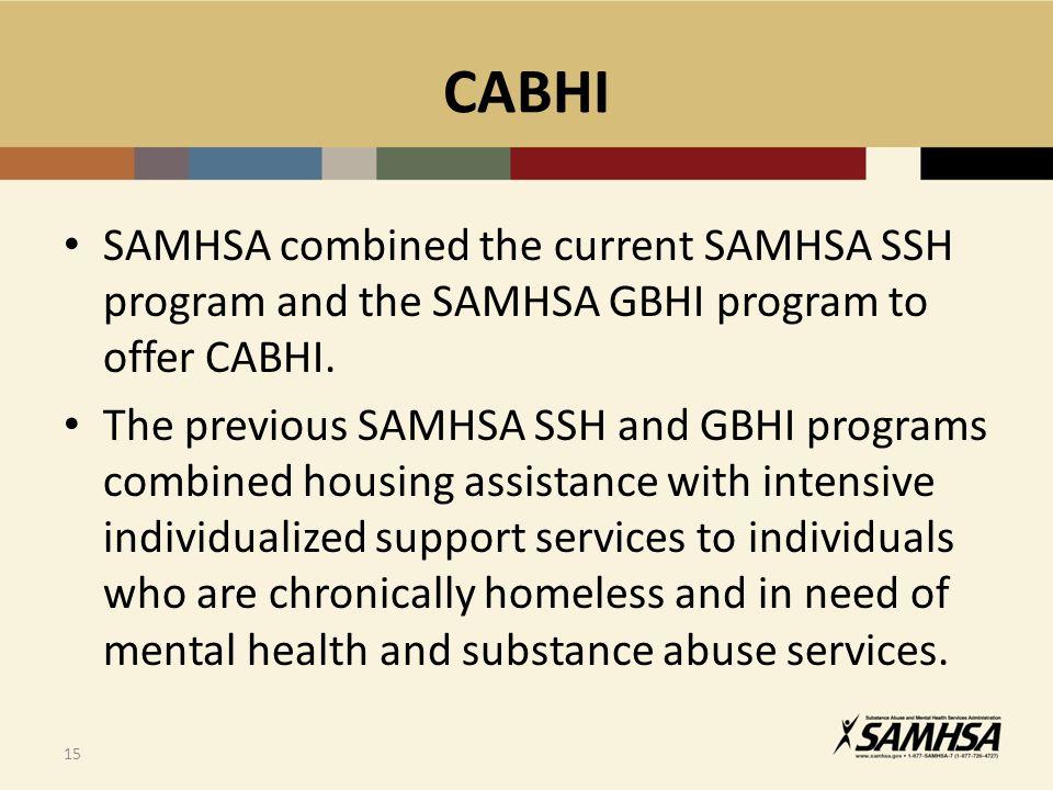 CABHI SAMHSA combined the current SAMHSA SSH program and the SAMHSA GBHI program to offer CABHI.