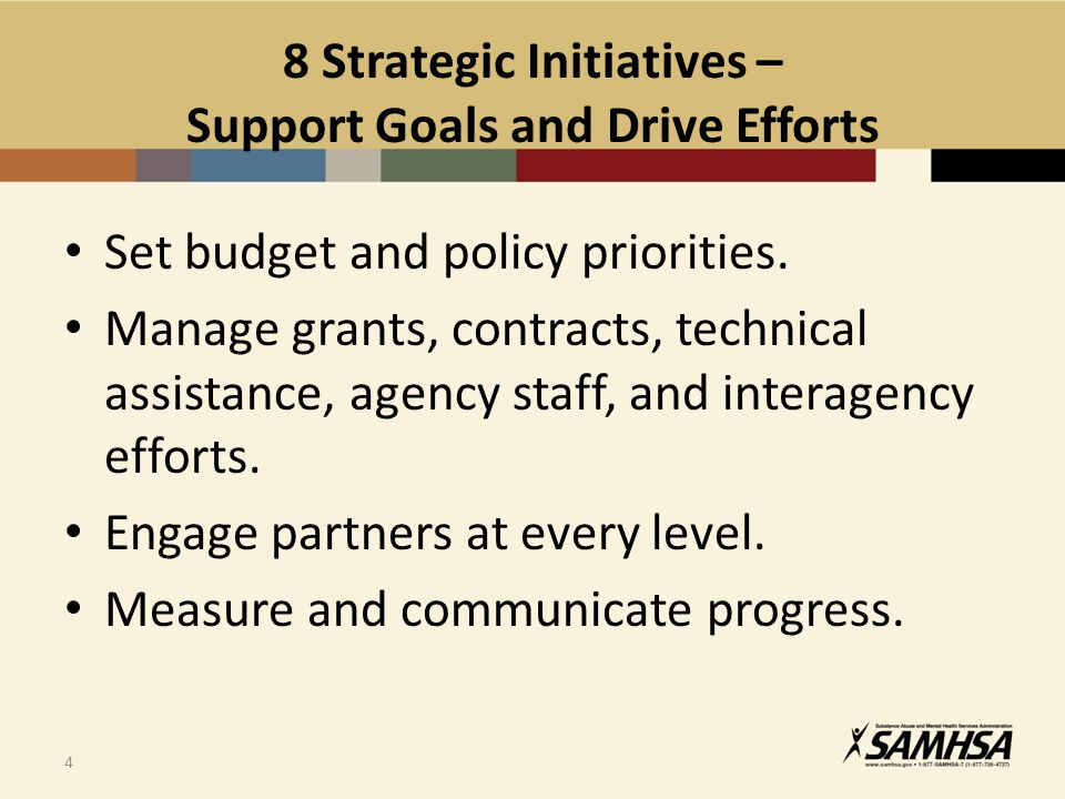 4 8 Strategic Initiatives – Support Goals and Drive Efforts Set budget and policy priorities.