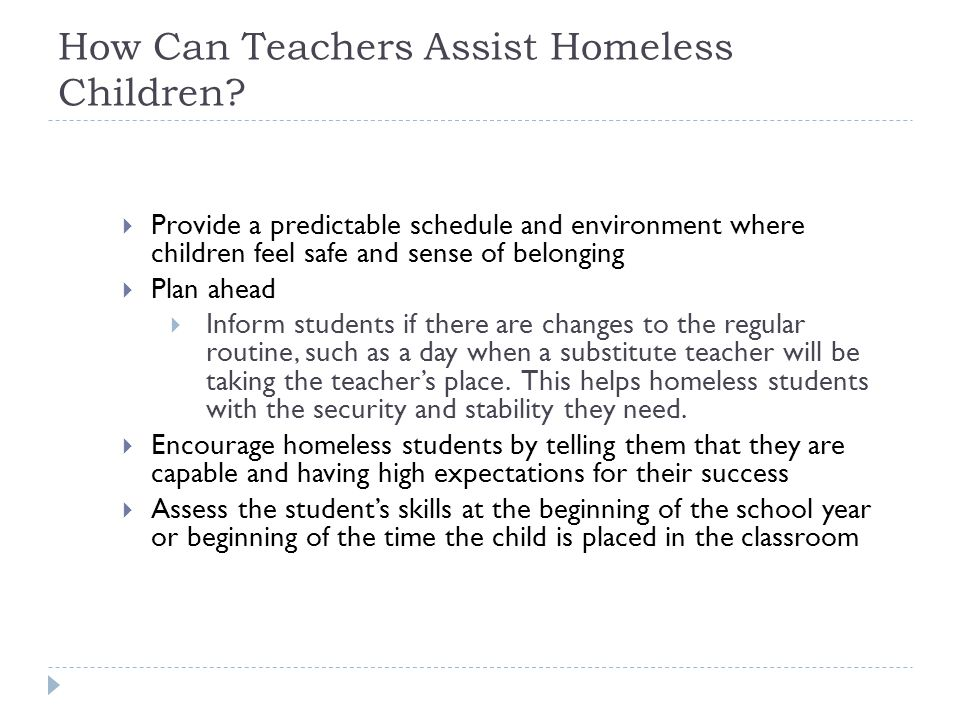 How Can Teachers Assist Homeless Children.