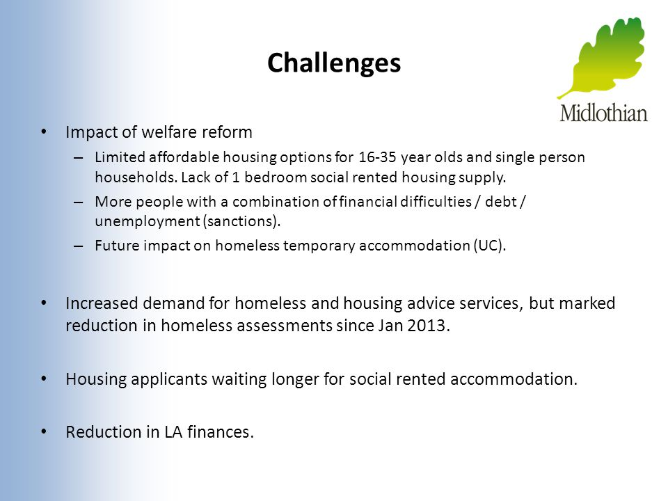 Challenges Impact of welfare reform – Limited affordable housing options for 16-35 year olds and single person households. Lack of 1 bedroom social re