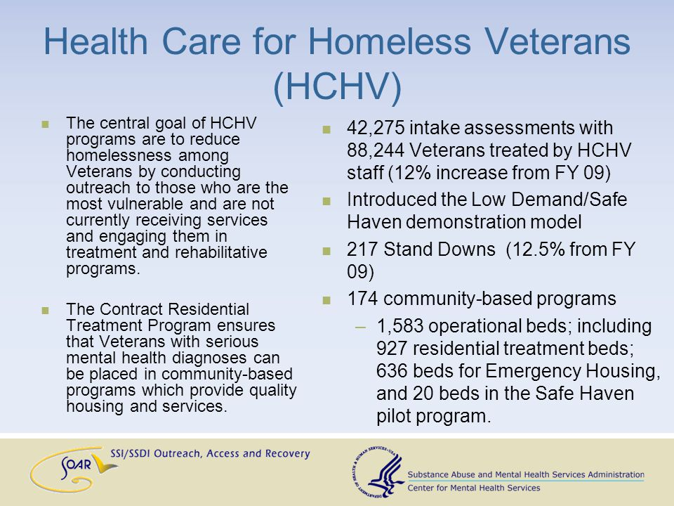 Health Care for Reentry Veterans Services and Resources (HCRV) The HCRV program is designed to address the community re-entry needs of incarcerated Veterans.