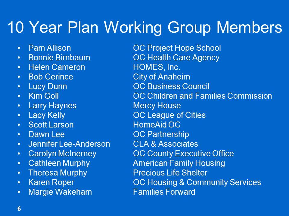 6 10 Year Plan Working Group Members Pam AllisonOC Project Hope School Bonnie BirnbaumOC Health Care Agency Helen CameronHOMES, Inc.