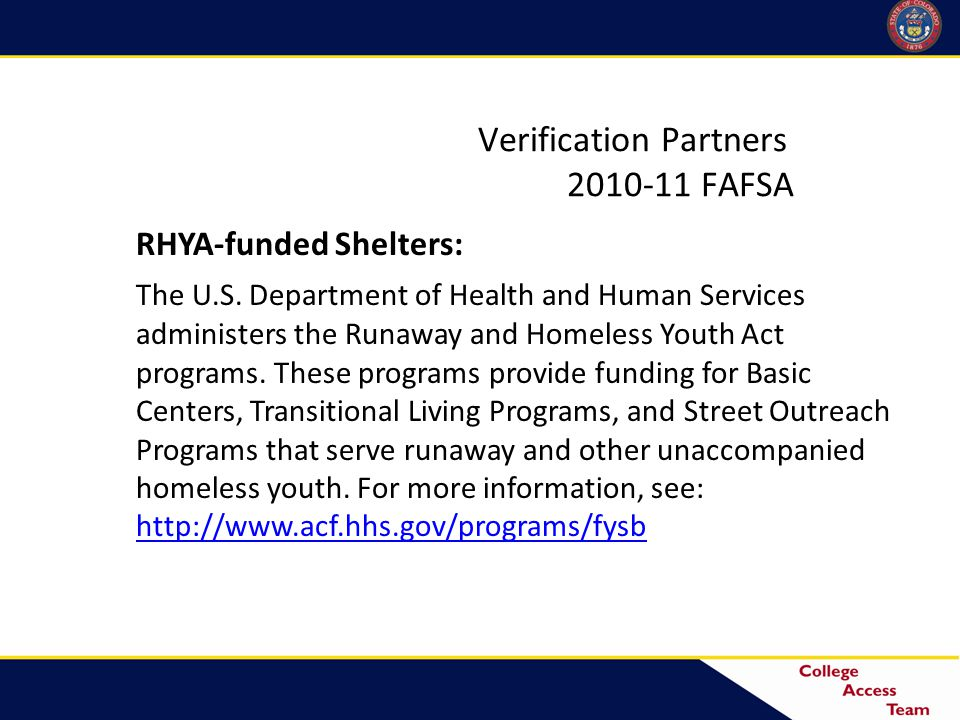 RHYA-funded Shelters: The U.S.
