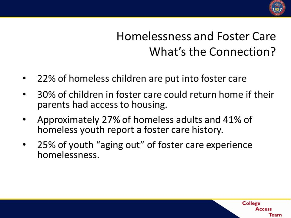 Definition of Homelessness Children and youth who lack a fixed, regular, and adequate nighttime residence— Children and youth who lack a fixed, regular, and adequate nighttime residence— 67% - Sharing the housing of others due to loss of housing, economic hardship, or similar reason 7% - Living in motels, hotels, trailer parks, camping grounds due to lack of adequate alternative accommodations 22% - Living in emergency or transitional shelters