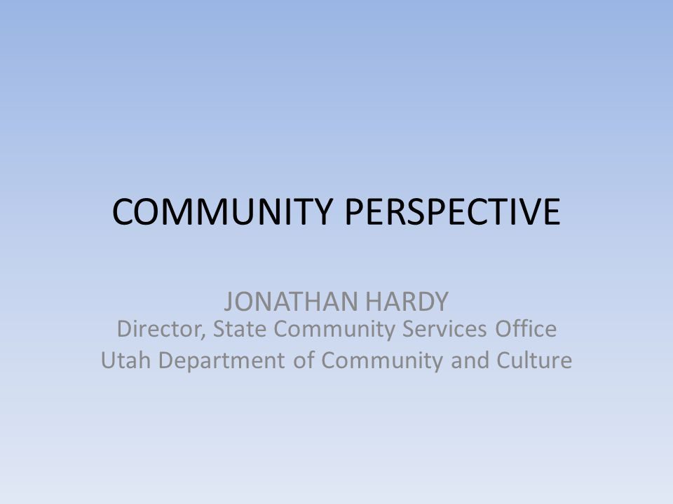 COMMUNITY PERSPECTIVE JONATHAN HARDY Director, State Community Services Office Utah Department of Community and Culture