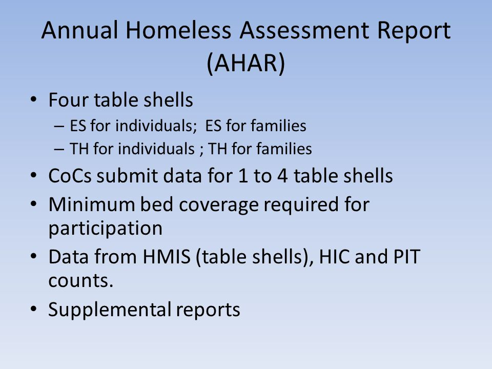 Annual Homeless Assessment Report (AHAR) Four table shells – ES for individuals; ES for families – TH for individuals ; TH for families CoCs submit data for 1 to 4 table shells Minimum bed coverage required for participation Data from HMIS (table shells), HIC and PIT counts.
