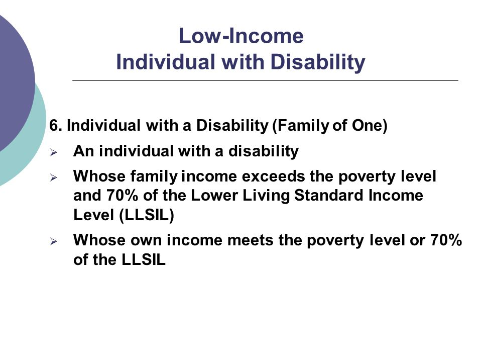Low-Income Individual with Disability 6.