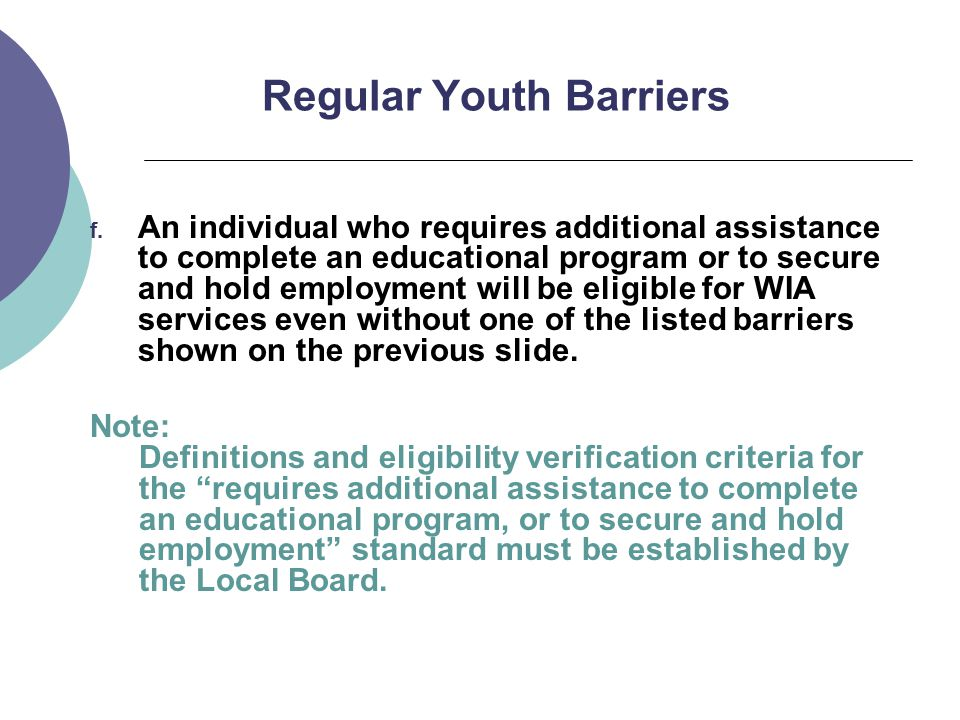 Regular Youth Barriers f.
