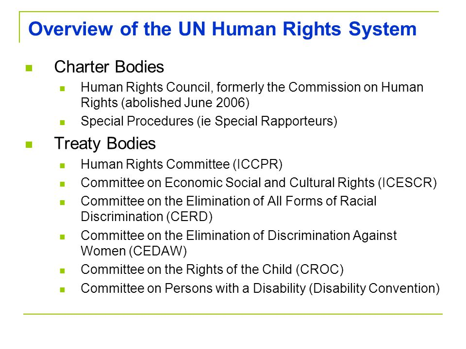 Overview of the UN Human Rights System Charter Bodies Human Rights Council, formerly the Commission on Human Rights (abolished June 2006) Special Procedures (ie Special Rapporteurs) Treaty Bodies Human Rights Committee (ICCPR) Committee on Economic Social and Cultural Rights (ICESCR) Committee on the Elimination of All Forms of Racial Discrimination (CERD) Committee on the Elimination of Discrimination Against Women (CEDAW) Committee on the Rights of the Child (CROC) Committee on Persons with a Disability (Disability Convention)