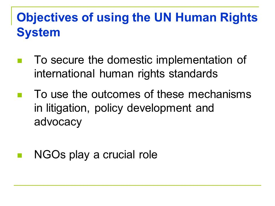 Objectives of using the UN Human Rights System To secure the domestic implementation of international human rights standards To use the outcomes of these mechanisms in litigation, policy development and advocacy NGOs play a crucial role