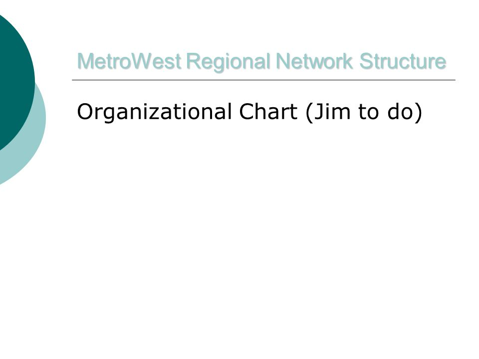 MetroWest Regional Network Structure Organizational Chart (Jim to do)
