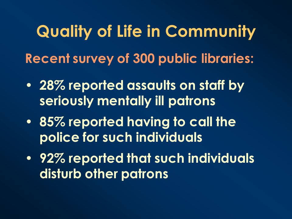 Quality of Life in Community 28% reported assaults on staff by seriously mentally ill patrons 85% reported having to call the police for such individu