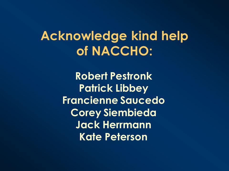 Acknowledge kind help of NACCHO: Robert Pestronk Patrick Libbey Francienne Saucedo Corey Siembieda Jack Herrmann Kate Peterson