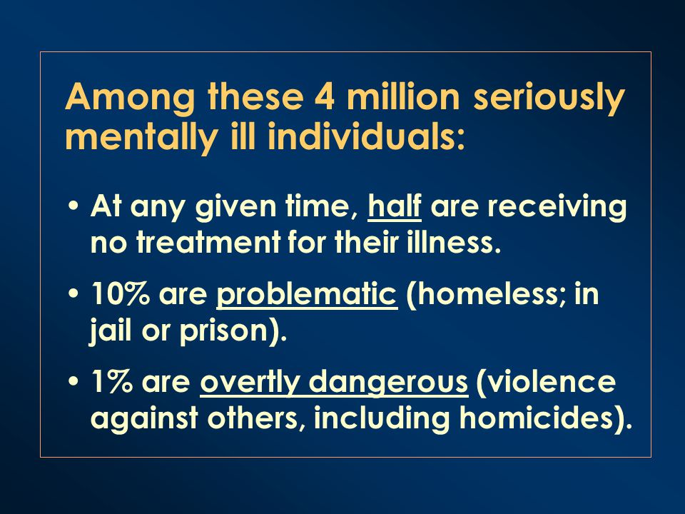 Among these 4 million seriously mentally ill individuals: At any given time, half are receiving no treatment for their illness. 10% are problematic (h