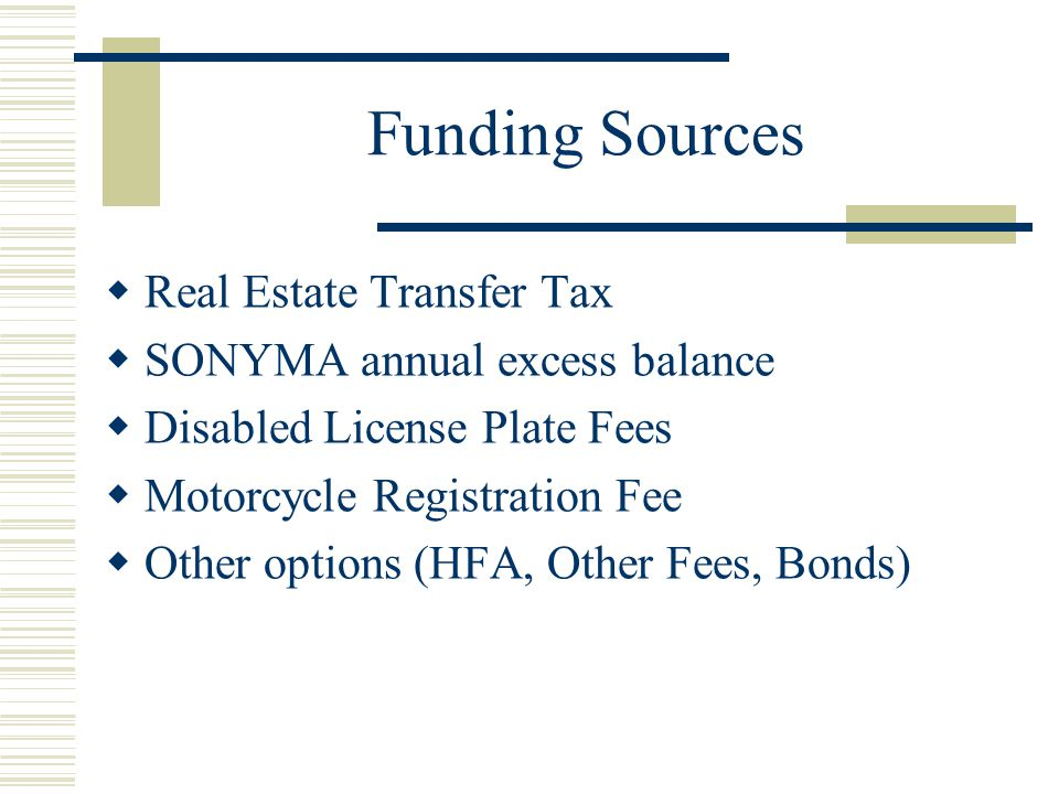 Funding Sources  Real Estate Transfer Tax  SONYMA annual excess balance  Disabled License Plate Fees  Motorcycle Registration Fee  Other options (HFA, Other Fees, Bonds)