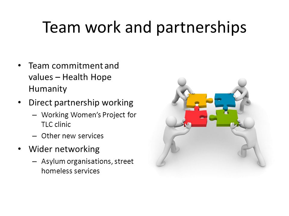 Team work and partnerships Team commitment and values – Health Hope Humanity Direct partnership working – Working Women's Project for TLC clinic – Other new services Wider networking – Asylum organisations, street homeless services