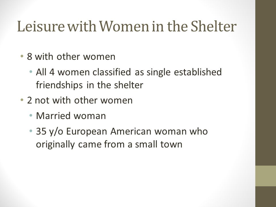 Leisure with Women in the Shelter 8 with other women All 4 women classified as single established friendships in the shelter 2 not with other women Ma