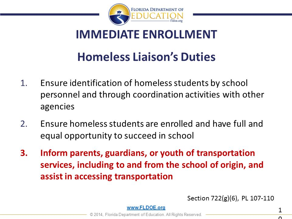 www.FLDOE.org © 2014, Florida Department of Education. All Rights Reserved. Homeless Liaison's Duties 1.Ensure identification of homeless students by