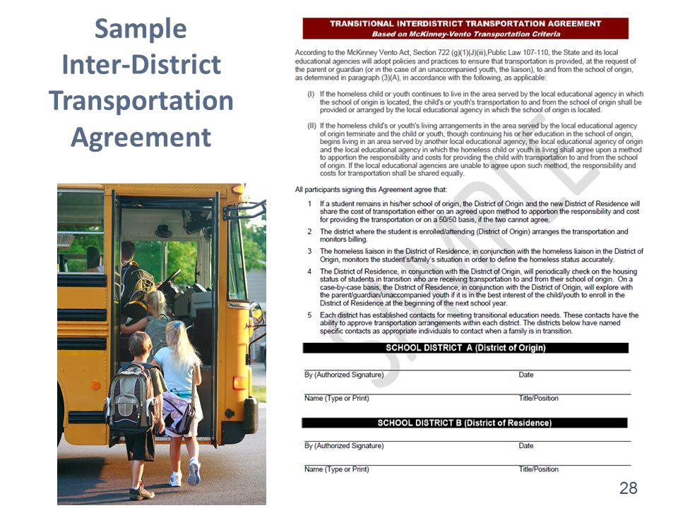 28 Sample Inter-District Transportation Agreement