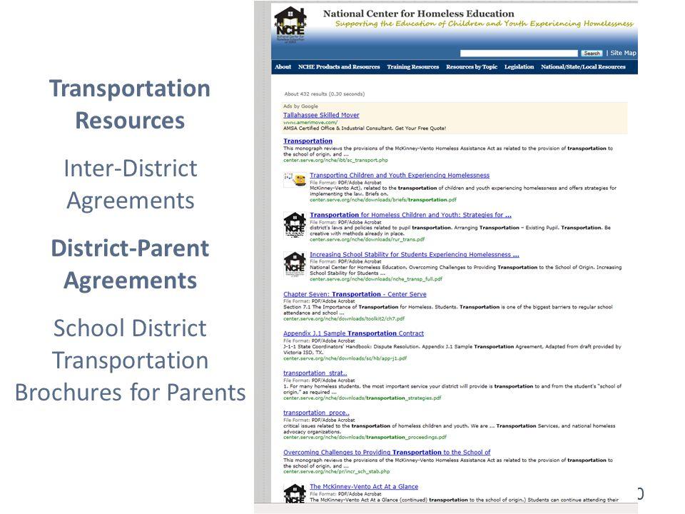 30 Transportation Resources Inter-District Agreements District-Parent Agreements School District Transportation Brochures for Parents