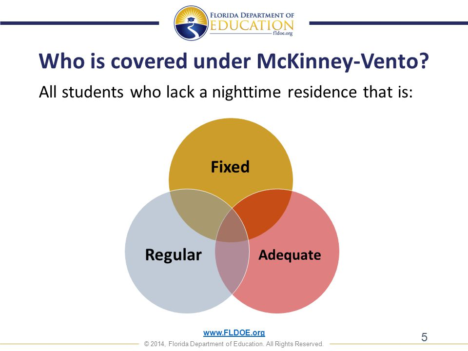 www.FLDOE.org © 2014, Florida Department of Education. All Rights Reserved. All students who lack a nighttime residence that is: 5 Who is covered unde