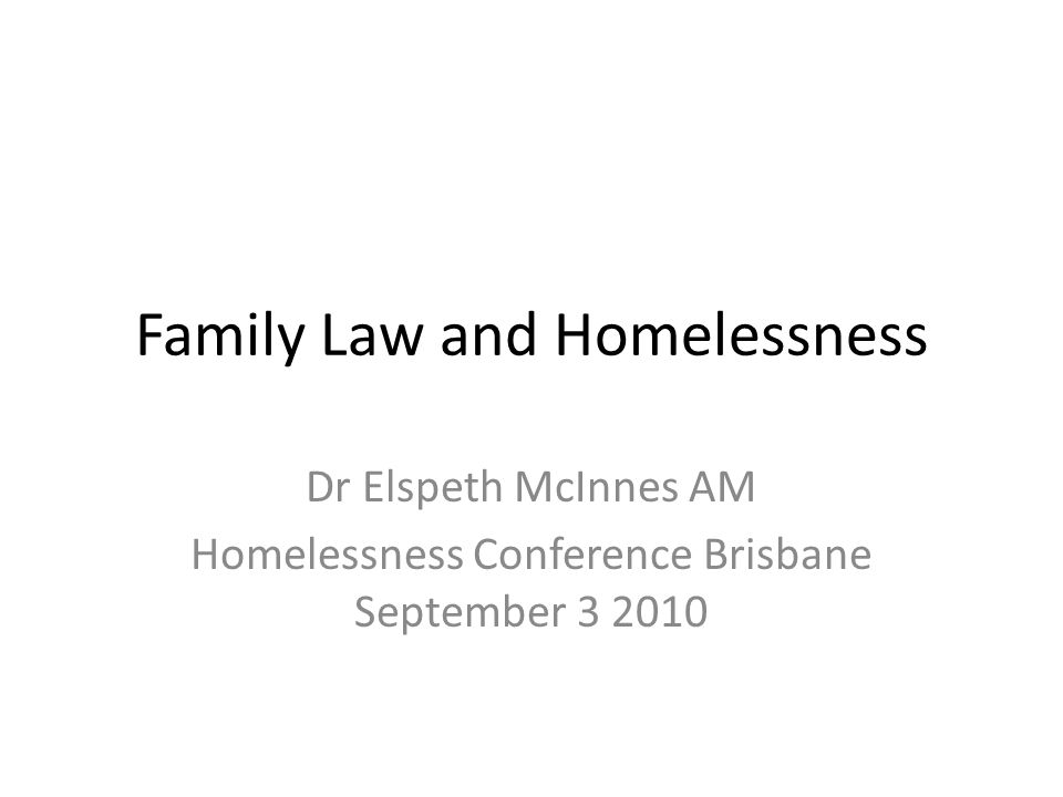 Overview This paper examines the nexus between family law and homelessness in Australia.