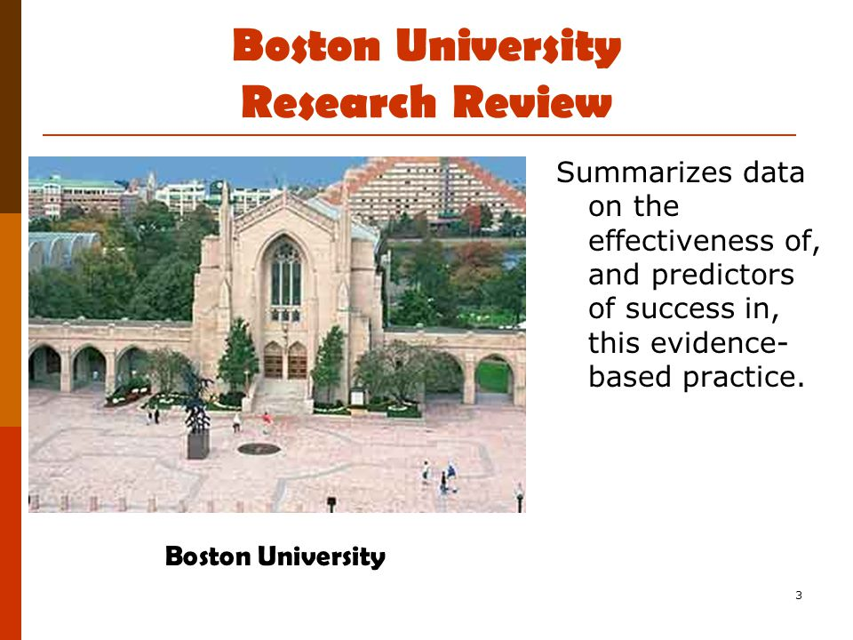 3 Boston University Research Review Summarizes data on the effectiveness of, and predictors of success in, this evidence- based practice.