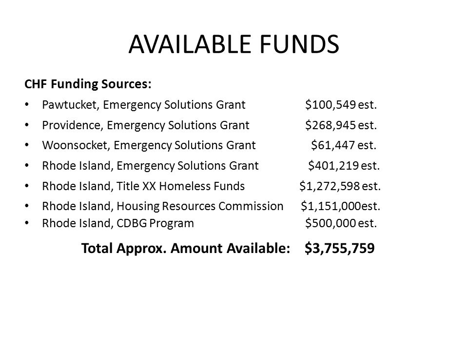 AVAILABLE FUNDS CHF Funding Sources: Pawtucket, Emergency Solutions Grant $100,549 est. Providence, Emergency Solutions Grant $268,945 est. Woonsocket