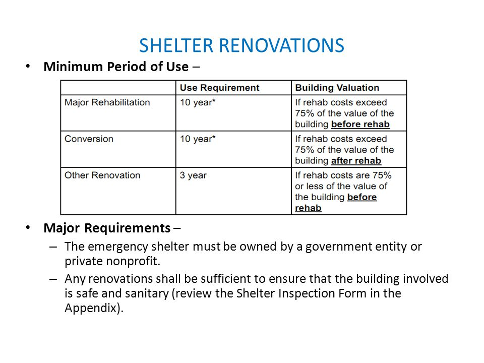 SHELTER RENOVATIONS Minimum Period of Use – Major Requirements – – The emergency shelter must be owned by a government entity or private nonprofit. –
