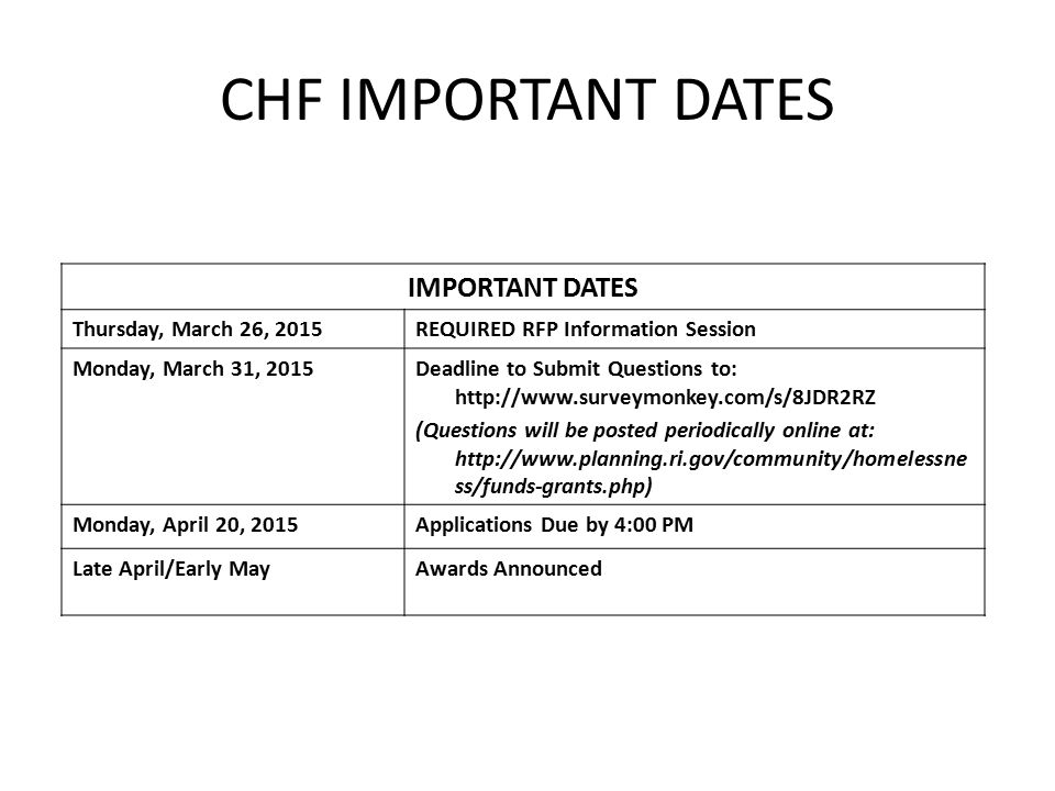 CHF IMPORTANT DATES IMPORTANT DATES Thursday, March 26, 2015REQUIRED RFP Information Session Monday, March 31, 2015Deadline to Submit Questions to: http://www.surveymonkey.com/s/8JDR2RZ (Questions will be posted periodically online at: http://www.planning.ri.gov/community/homelessne ss/funds-grants.php) Monday, April 20, 2015Applications Due by 4:00 PM Late April/Early MayAwards Announced