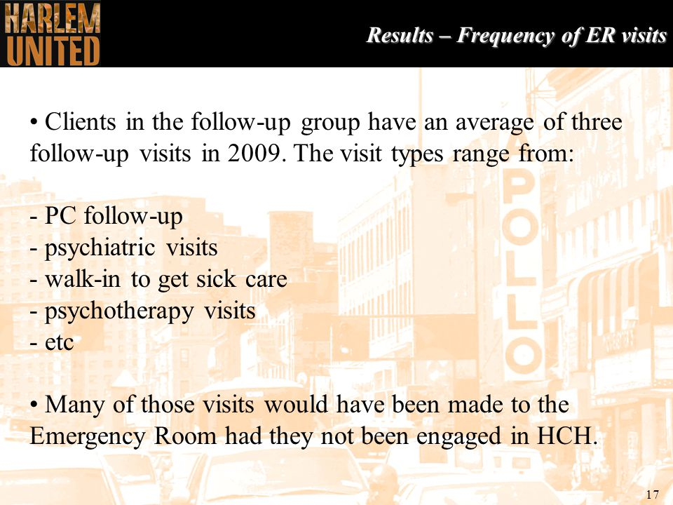 17 Results – Frequency of ER visits Clients in the follow-up group have an average of three follow-up visits in 2009.