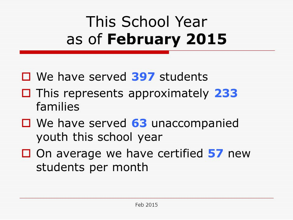 Feb 2015 This School Year as of February 2015  We have served 397 students  This represents approximately 233 families  We have served 63 unaccompa