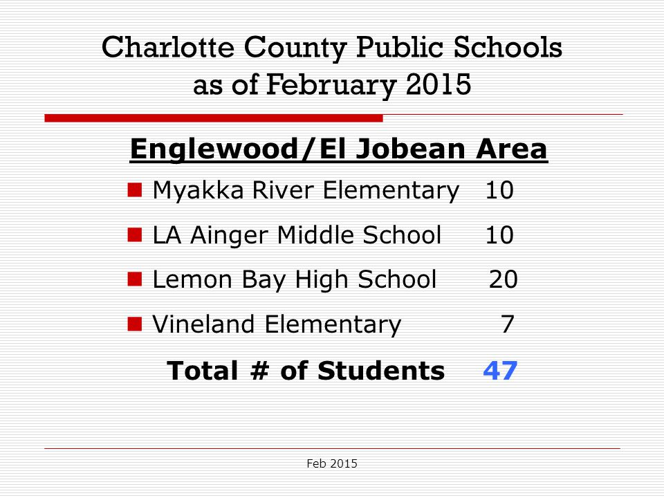 Feb 2015 Charlotte County Public Schools as of February 2015 Englewood/El Jobean Area Myakka River Elementary 10 LA Ainger Middle School 10 Lemon Bay