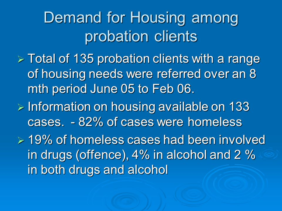 Demand for Housing among probation clients  Total of 135 probation clients with a range of housing needs were referred over an 8 mth period June 05 to Feb 06.