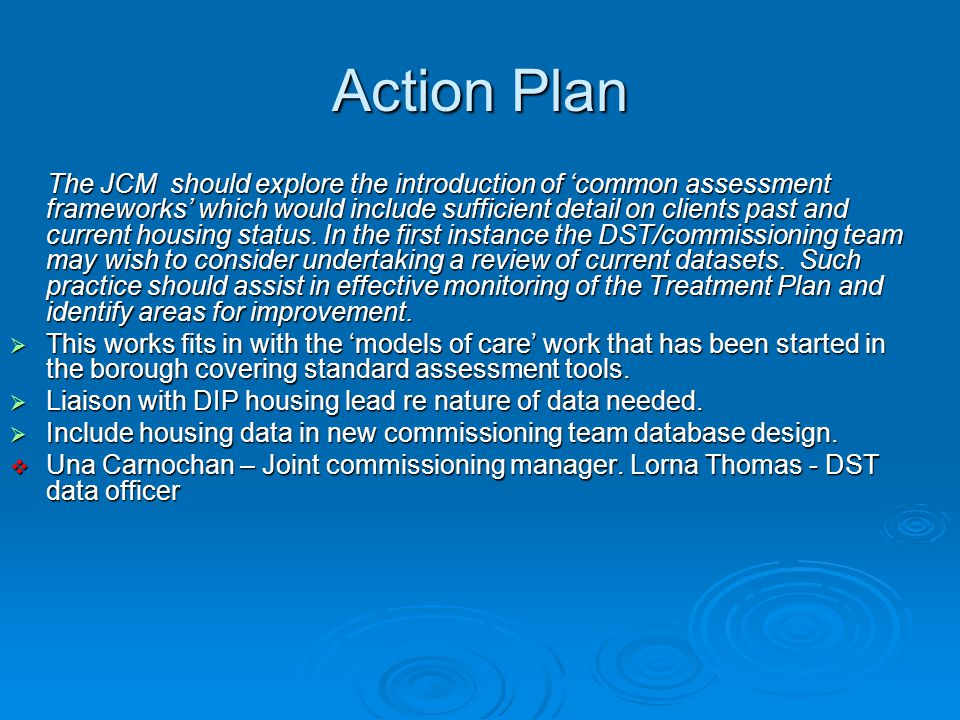 Action Plan The JCM should explore the introduction of 'common assessment frameworks' which would include sufficient detail on clients past and current housing status.