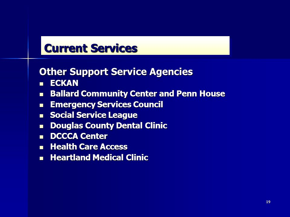 19 Current Services Other Support Service Agencies ECKAN ECKAN Ballard Community Center and Penn House Ballard Community Center and Penn House Emergency Services Council Emergency Services Council Social Service League Social Service League Douglas County Dental Clinic Douglas County Dental Clinic DCCCA Center DCCCA Center Health Care Access Health Care Access Heartland Medical Clinic Heartland Medical Clinic
